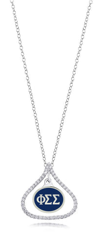 Phi Sigma Sigma Sterling Silver and CZ Necklace