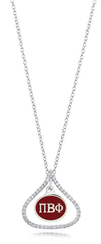 Pi Beta Phi Sterling Silver and CZ Necklace