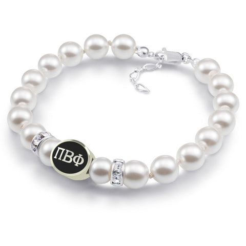 Pi Beta Phi White Pearl Antique Bead Bracelet