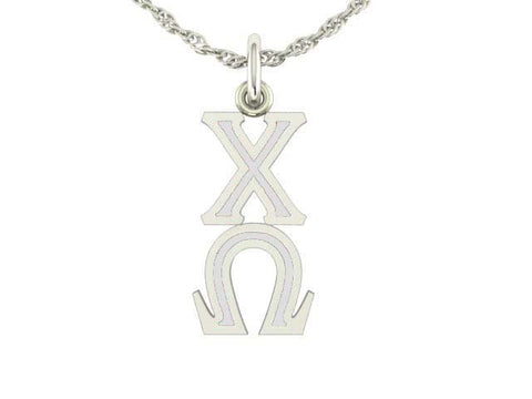 Chi Omega Silver Lavaliere Charm
