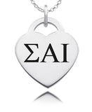 Sigma Alpha Iota Greek Letters Heart Charm