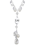 Sigma Alpha Iota Greek Letters Clear Crystal and Freshwater Pearl Necklace