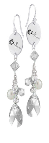 Sigma Alpha Iota Symbol Clear Crystal and Freshwater Pearl Earrings