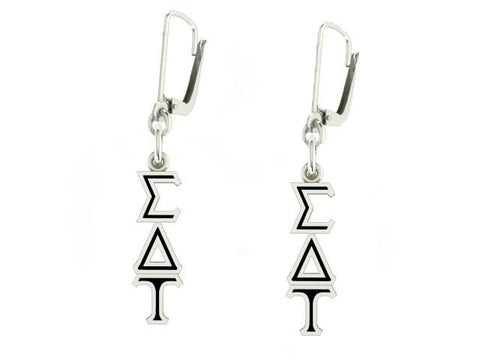 Sigma Delta Tau Lavaliere Lever-back Black Enamel Earrings
