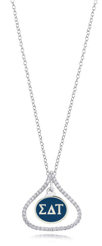 Sigma Delta Tau Sterling Silver and CZ Necklace