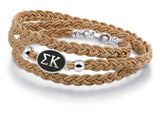 Sigma Kappa Antiqued Top Brown Leather Wrap Bracelet