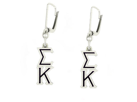 Sigma Kappa Lavaliere Lever-back Black Enamel Earrings