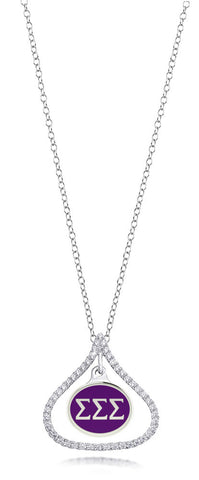 Sigma Sigma Sigma Sterling Silver and CZ Necklace
