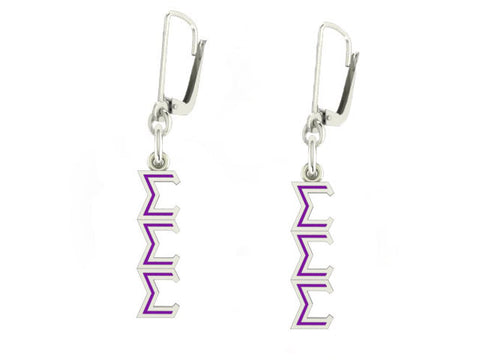 Sigma Sigma Sigma Lavaliere Lever-back Enamel Earrings
