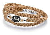 Theta Phi Alpha Antiqued Top Brown Leather Wrap Bracelet