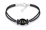 Zeta Tau Alpha Double Strand Rubber Bracelet with Antiqued Enamel Top