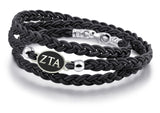 Zeta Tau Alpha Antiqued Top Black Leather Wrap Bracelet