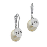 Zeta Tau Alpha CZ Cluster Pearl Drop Earring in Solid Sterling Silver