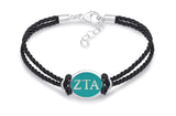 Zeta Tau Alpha Double Strand Rubber Bracelet with Color Enamel Top
