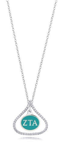 Zeta Tau Alpha Sterling Silver and CZ Necklace