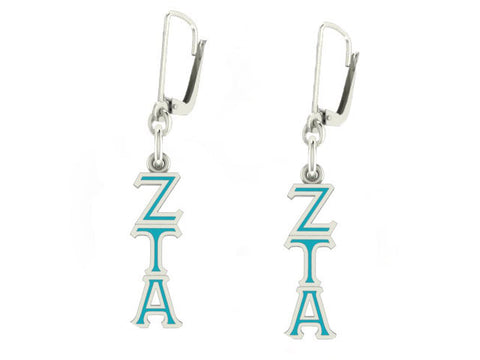 Zeta Tau Alpha Lavaliere Lever-back Enamel Earrings