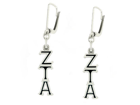 Zeta Tau Alpha Lavaliere Lever-back Black Enamel Earrings