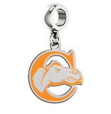 Campbell Fighting Camels Silver Logo and School Color Drop Charm
