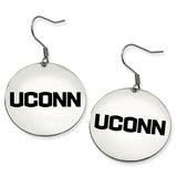 Connecticut Huskies Stainless Steel Disc Earrings