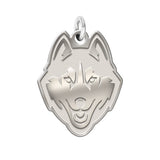 Connecticut Huskies Sterling Silver Natural Finish Charm