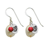 Cornell Big Red Color and Freshwater Pearl Earrings