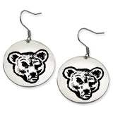 Cornell Big Red Stainless Steel Disc Earrings