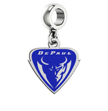 DePaul Blue Demons Silver Logo and School Color Drop Charm