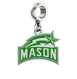 George Mason Patriots Silver Logo and School Color Drop Charm