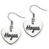 Georgetown Hoyas Heart Drop Earrings
