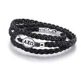 alpha chi omega black leather silver bracelet