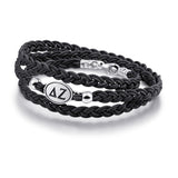 Delta Zeta Black Leather Wrap Bracelet with Brushed Silver Top