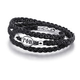 Gamma Phi Beta Black Leather Wrap Bracelet with Brushed Silver Top