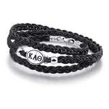Kappa Alpha Theta Black Leather Wrap Bracelet with Brushed Silver Top