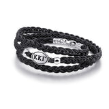 Kappa Delta Black Leather Wrap Bracelet with Brushed Silver Top
