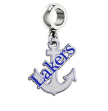 Lake Superior State Lakers Silver Logo and School Color Drop Charm