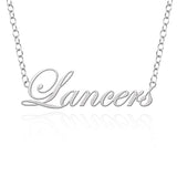 Longwood Lancers Sterling Silver Cutout Script Necklace