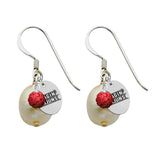 Louisiana Lafayette Ragin' Cajuns Color and Freshwater Pearl Earrings