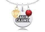 Louisiana Lafayette Ragin' Cajuns Necklace with Charm Accents