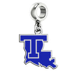 Louisiana Tech Bulldogs Silver Logo and School Color Drop Charm