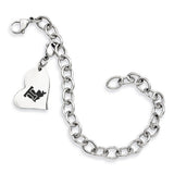 Louisiana Tech Bulldogs Stainless Heart Bracelet