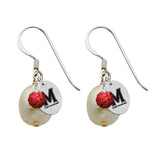 Maryland Terrapins Color and Freshwater Pearl Earrings