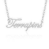 Maryland Terrapins Sterling Silver Cutout Script Necklace