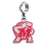 Maryland Terrapins Silver Logo and School Color Drop Charm