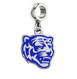 Memphis Tigers Silver Logo and School Color Drop Charm