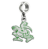 Miami Hurricanes Silver Logo and School Color Drop Charm