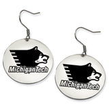 Michigan Tech Huskies Stainless Steel Disc Earrings