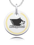 Michigan Tech Huskies Round Enamel Charm