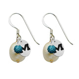 Mississippi Ole Miss Rebels Color and Freshwater Pearl Earrings