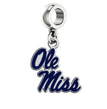 Mississippi Ole Miss Rebels Silver Logo and School Color Drop Charm
