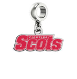 Monmouth Fighting Scots Silver Logo and School Color Drop Charm